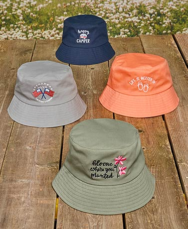 Novelty Embroidered Bucket Hats