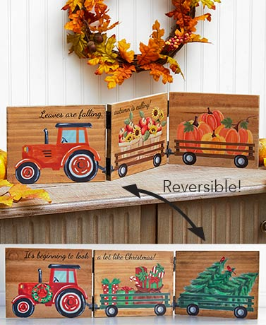 Reversible FallWinter Tabletop Sign