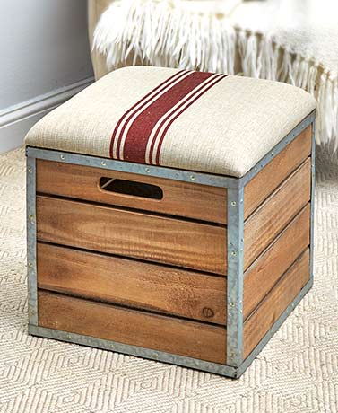 Country Storage Crate Ottoman