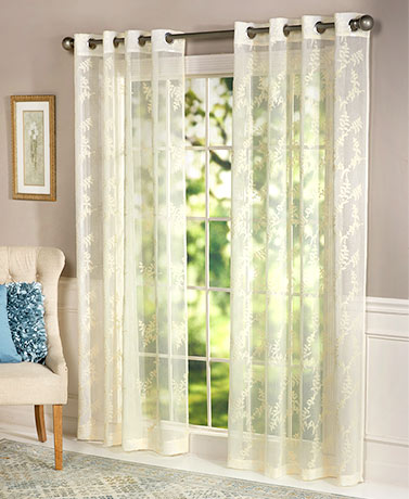 Embroidered Grommet Top Curtain