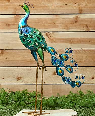 Colorful Metallic Bird Decor - Peacock