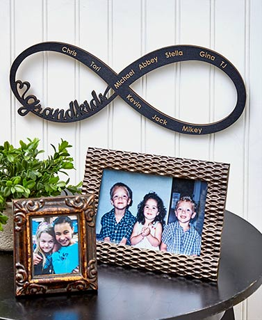 Personalized Grandkids Infinity Wood Plaque