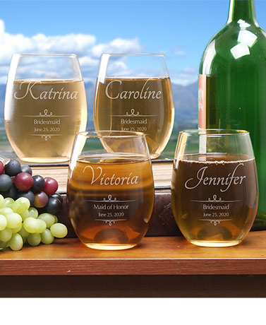 Personalized Wedding Party Wine Glasses