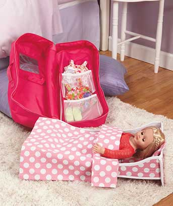 "18"" Doll Travel Case with Bed"