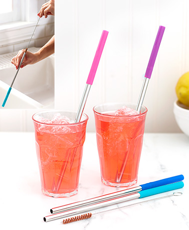 Silicone Tip Stainless Steel Straws with Brush