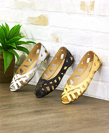 Stylish Slip-On Peep Toe Cutout Flats