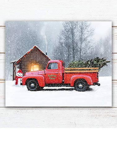Personalized Seasonal Red Truck Prints