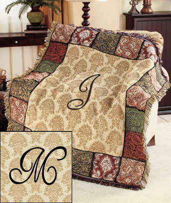 Monogrammed Tapestry Throws